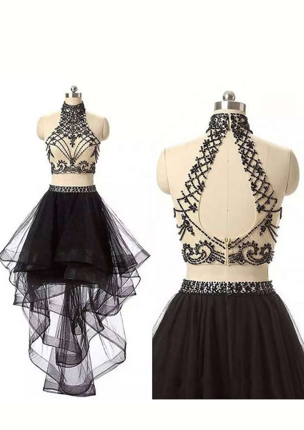 A-Line/Princess High-Neck Sleeveless Asymmetrical Tulle Homecoming Dress With Lace Beading