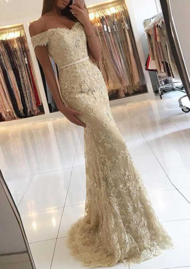 Sheath/Column Off-The-Shoulder Sleeveless Sweep Train Lace Prom Dress With Beading Waistband