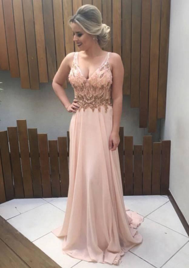 A-Line/Princess V Neck Sleeveless Court Train Chiffon Prom Dress With Appliqued
