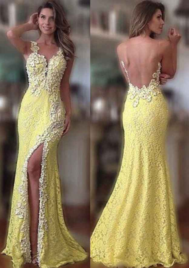 Sheath/Column V Neck Sleeveless Long/Floor-Length Lace Prom Dress With Split Beading