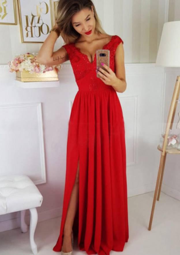 A-Line/Princess Sleeveless Long/Floor-Length Chiffon Prom Dress With Appliqued Split