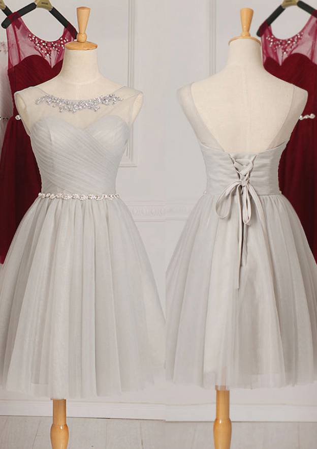 A-Line/Princess Scoop Neck Sleeveless Knee-Length Tulle Bridesmaid Dress With Rhinestone Waistband