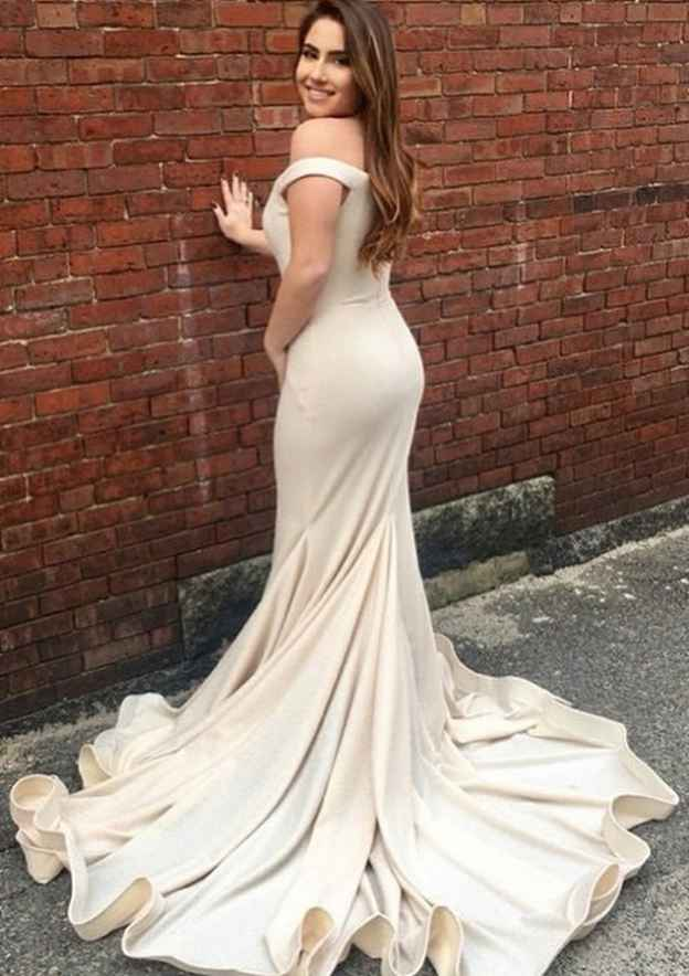 Trumpet/Mermaid Off-The-Shoulder Sleeveless Court Train Elastic Satin Evening Dress