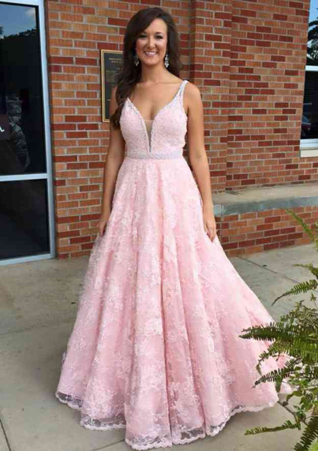 A-Line/Princess Scalloped Neck Sleeveless Long/Floor-Length Lace Prom Dress With Beading