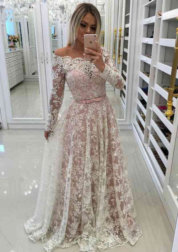 A-Line/Princess Scalloped Neck Sleeves Sweep Train Lace Prom Dress Waistband