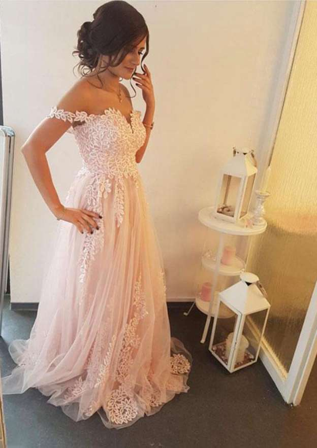 A-Line/Princess Off-The-Shoulder Sleeveless Sweep Train Prom Dress With Appliqued
