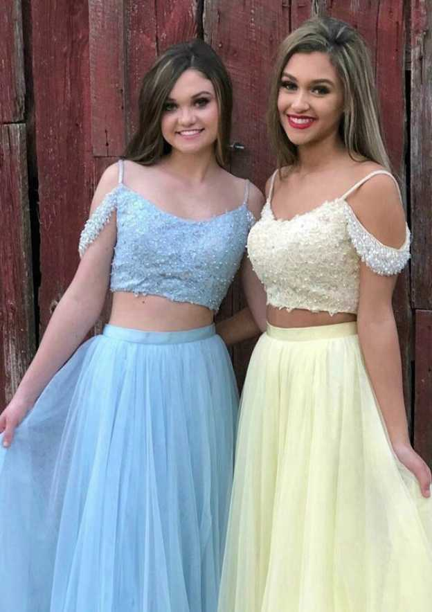 A-Line/Princess Bateau Sleeveless Long/Floor-Length Tulle Prom Dress With Beading