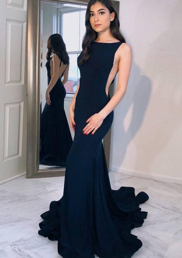 Trumpet/Mermaid Bateau Sleeveless Chapel Train Elastic Satin Evening Dress With Pleated