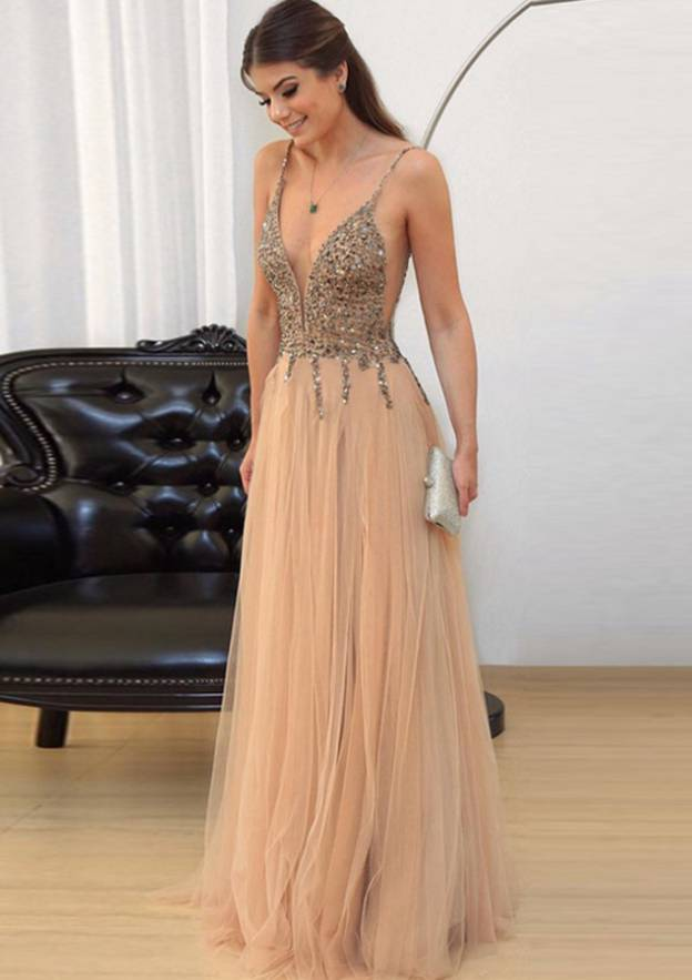 A-Line/Princess V Neck Sleeveless Long/Floor-Length Tulle Prom Dress With Beading