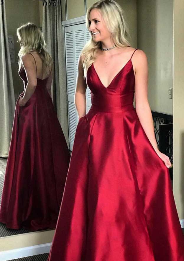 A-Line/Princess V Neck Sleeveless Sweep Train Satin Prom Dress