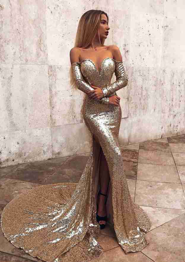 Trumpet/Mermaid Off-The-Shoulder Full/Long Sleeve Court Train Sequined Evening Dress