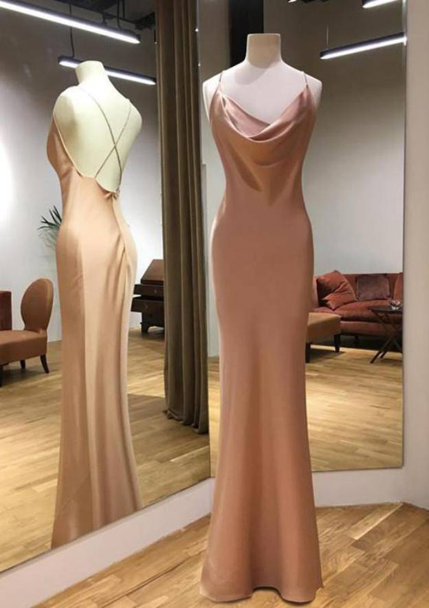 Sheath/Column Cowl Neck Sleeveless Long/Floor-Length Charmeuse Evening Dress