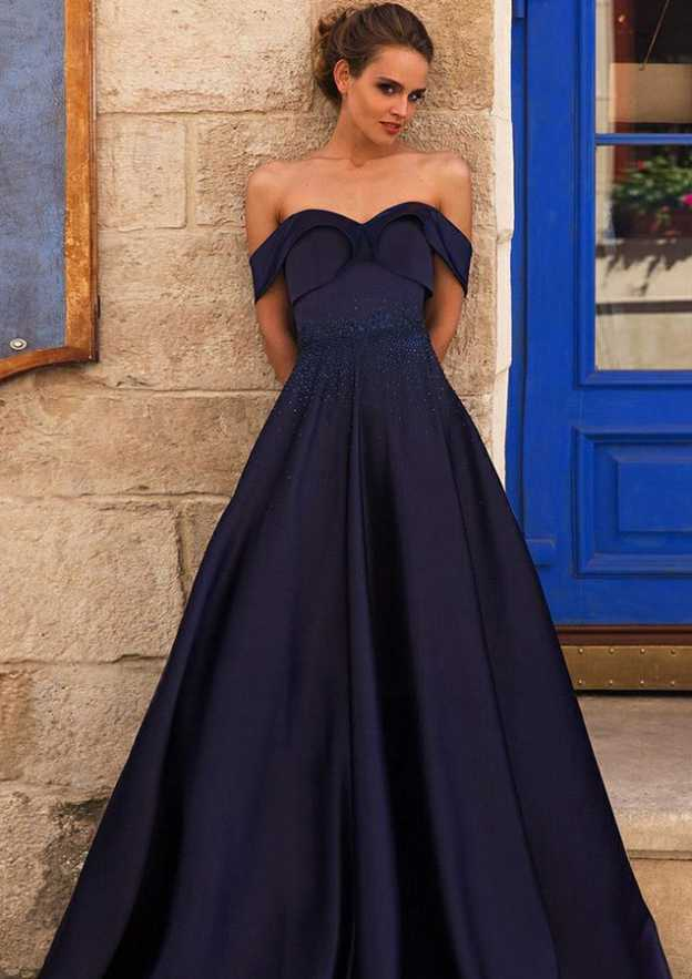 Ball Gown Off-The-Shoulder Sleeveless Long/Floor-Length Satin Evening Dress With Beading