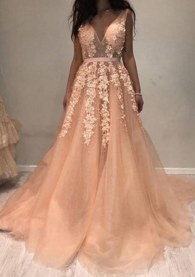 A-Line/Princess V Neck Sleeveless Court Train Tulle Prom Dress With Sashes Appliqued Beading