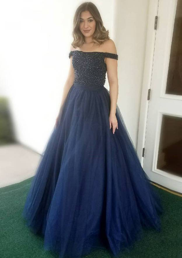 Ball Gown Off-The-Shoulder Sleeveless Long/Floor-Length Tulle Prom Dress With Beading