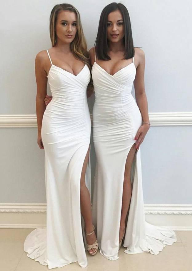 Sheath/Column Sweetheart Sleeveless Sweep Train Jersey Prom Dress With Split Pleated