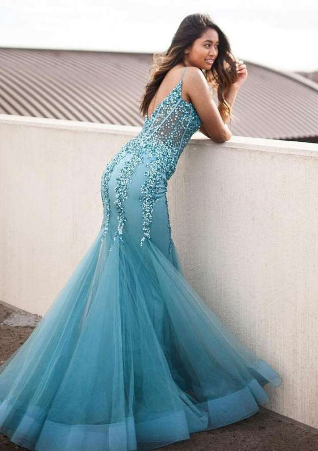 Trumpet/Mermaid V Neck Sleeveless Long/Floor-Length Tulle Evening Dress With Beading Appliqued