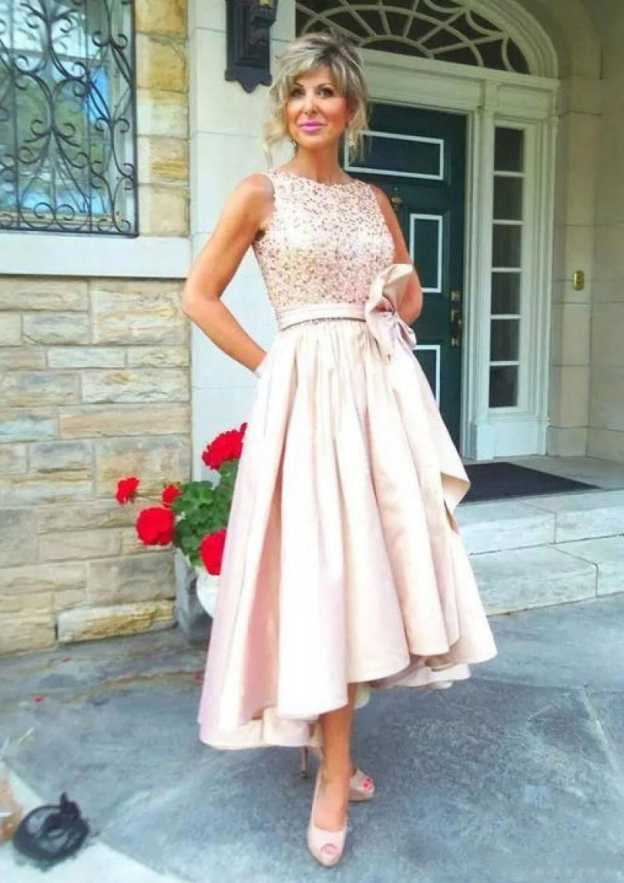 A-Line/Princess Bateau Sleeveless Asymmetrical Satin Mother Of The Bride Dress With Sashes Beading Bowknot
