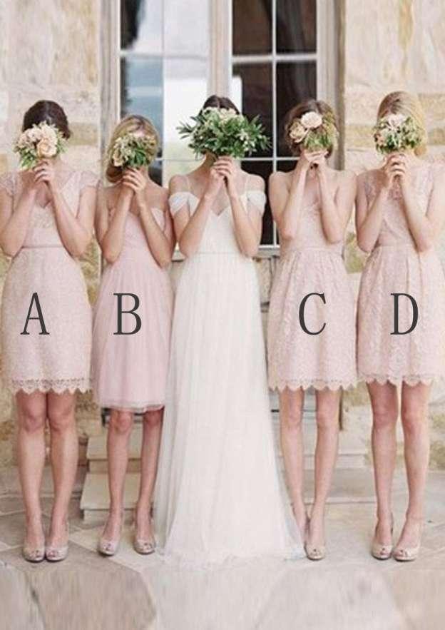 A-Line/Princess V Neck Sleeveless Short/Mini Lace Bridesmaid Dress With Hem Waistband