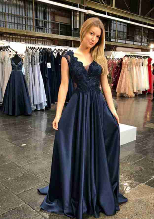 A-Line/Princess Scalloped Neck Sleeveless Sweep Train Charmeuse Prom Dress With Appliqued Beading