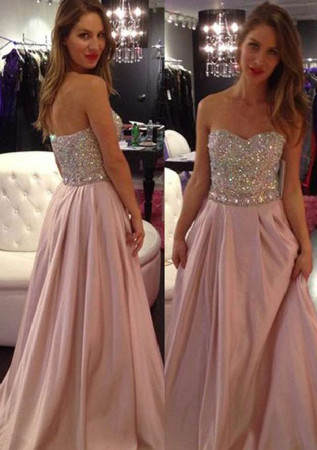 A-Line/Princess Sweetheart Sleeveless Long/Floor-Length Taffeta Prom Dress With Pleated Beading