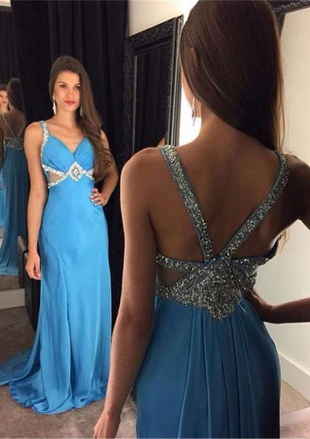 A-Line/Princess Sweetheart Sleeveless Sweep Train Chiffon Prom Dress With Beading