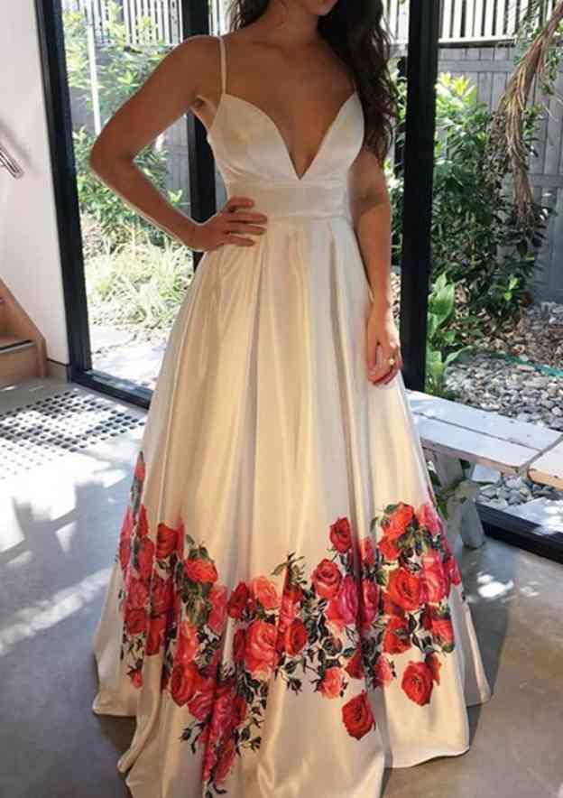 A-Line/Princess V Neck Sleeveless Long/Floor-Length Satin Prom Dress