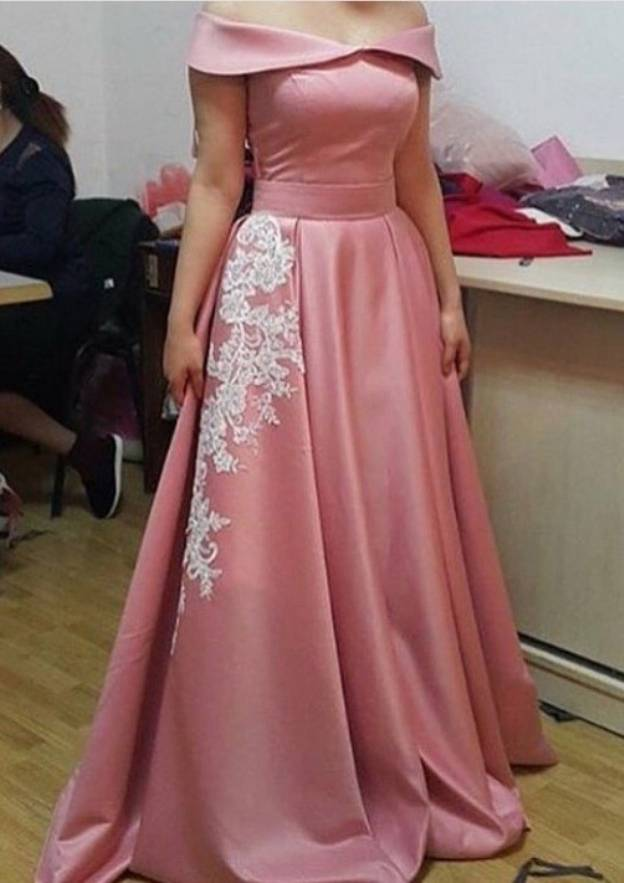 A-Line/Princess Off-The-Shoulder Sleeveless Long/Floor-Length Charmeuse Prom Dress With Appliqued Pleated