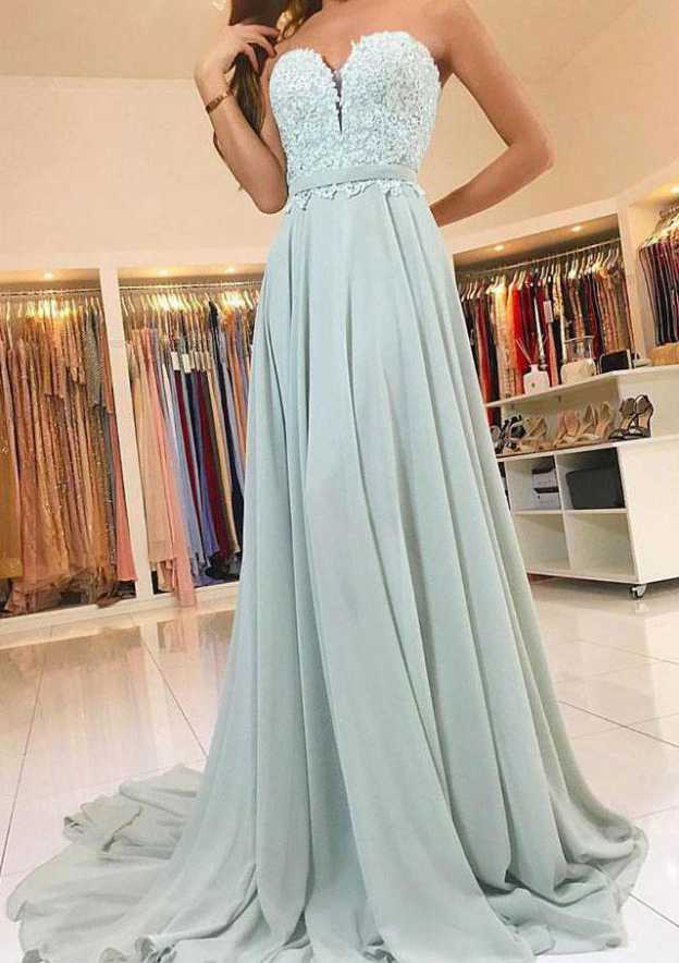 A-Line/Princess Sweetheart Sleeveless Sweep Train Chiffon Prom Dress With Lace Waistband