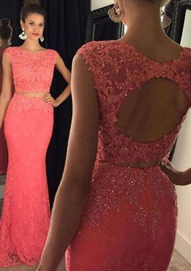Sheath/Column Bateau Sleeveless Sweep Train Lace Prom Dress With Beading