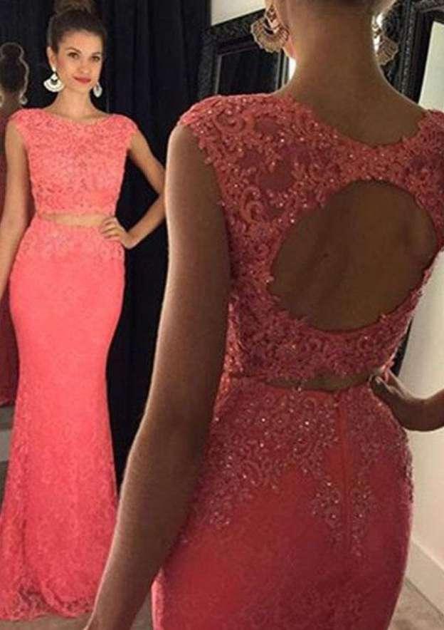 Sheath/Column Bateau Sleeveless Sweep Train Lace Prom Dress With Beading