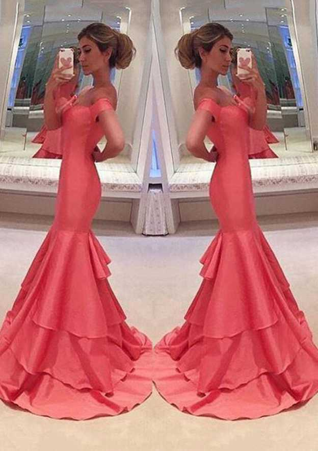 Trumpet/Mermaid Sweetheart Sleeveless Long/Floor-Length Taffeta Prom Dress With Ruffles