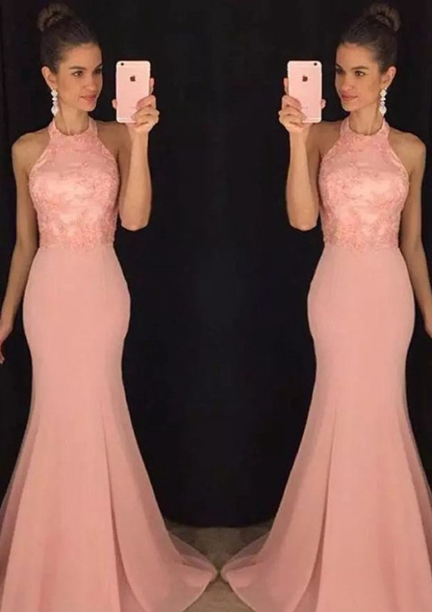 Trumpet/Mermaid Scoop Neck Sleeveless Sweep Train Chiffon Prom Dress With Appliqued