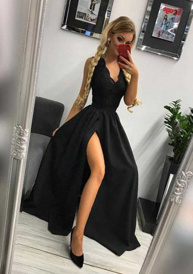 A-Line/Princess Scalloped Neck Sleeveless Long/Floor-Length Elastic Satin Prom Dress With Lace Split