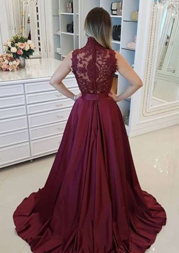 A-Line/Princess High-Neck Sleeveless Sweep Train Charmeuse Prom Dress With Beading Lace