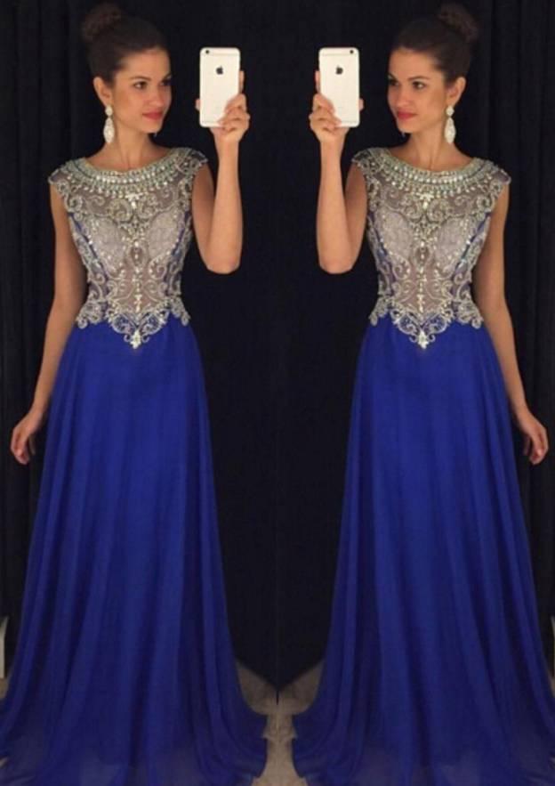 A-Line/Princess Bateau Sleeveless Long/Floor-Length Chiffon Prom Dress With Pleated Beading