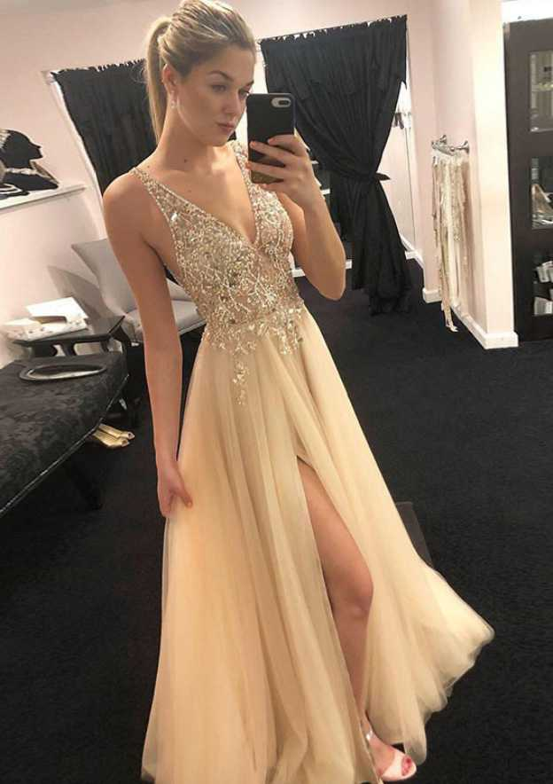 A-Line/Princess V Neck Sleeveless Long/Floor-Length Tulle Prom Dress With Split Beading Appliqued