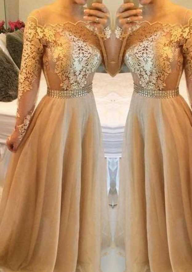 A-Line/Princess Scalloped Neck Full/Long Sleeve Long/Floor-Length Tulle Prom Dress With Crystal Appliqued