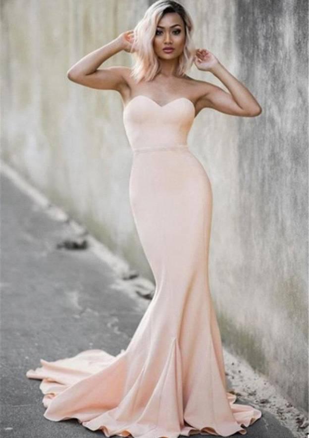 Trumpet/Mermaid Sweetheart Sleeveless Court Train Elastic Satin Prom Dress