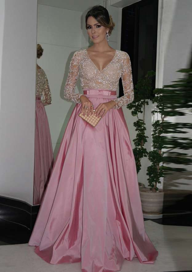 A-Line/Princess V Neck Full/Long Sleeve Long/Floor-Length Taffeta Prom Dress With Bowknot Beading