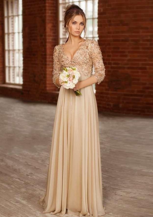 A-Line/Princess V Neck 3/4 Sleeve Long/Floor-Length Chiffon Prom Dress With Beading