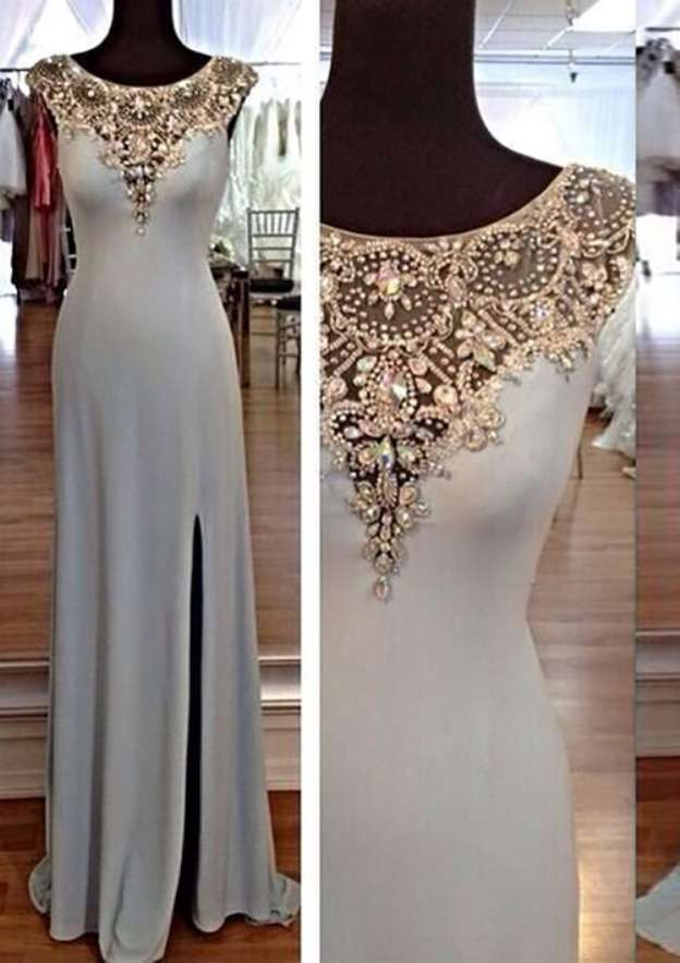 Sheath/Column Bateau Sleeveless Long/Floor-Length Jersey Prom Dress With Split Beading