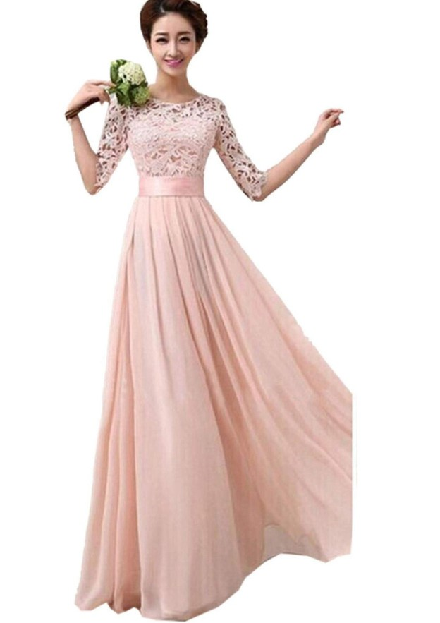 A-Line/Princess Scoop Neck Half Sleeve Long/Floor-Length Chiffon Prom Dress With Lace