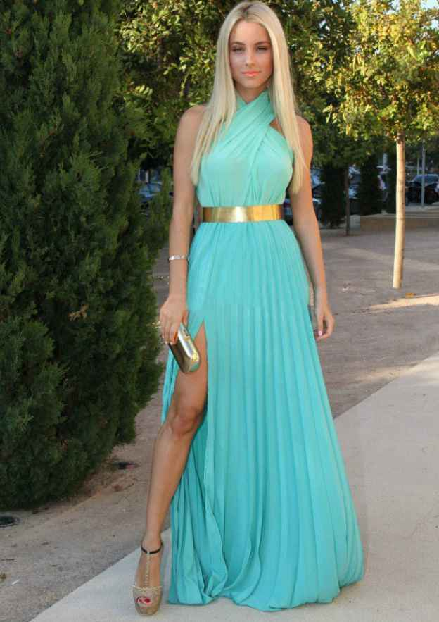 A-Line/Princess High-Neck Sleeveless Long/Floor-Length Chiffon Prom Dress With Split