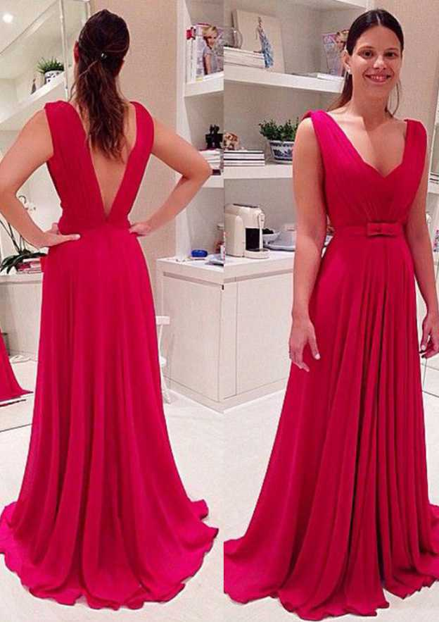 A-Line/Princess Scalloped Neck Sleeveless Sweep Train Chiffon Prom Dress With Bowknot
