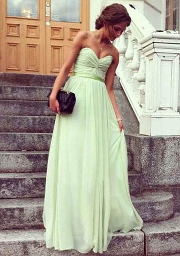 A-Line/Princess Sweetheart Sleeveless Long/Floor-Length Chiffon Prom Dress With Pleated