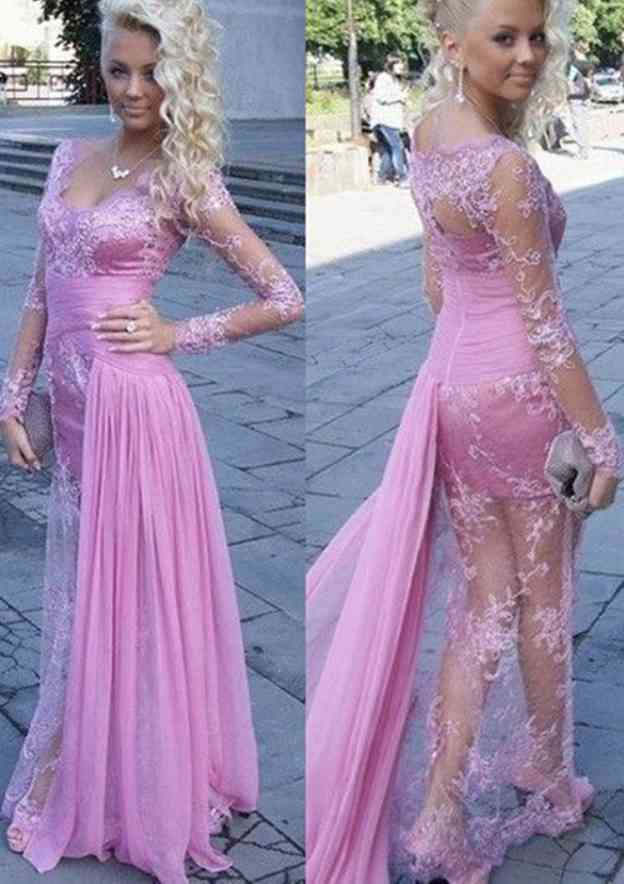 A-Line/Princess V Neck Full/Long Sleeve Long/Floor-Length Chiffon Prom Dress With Appliqued