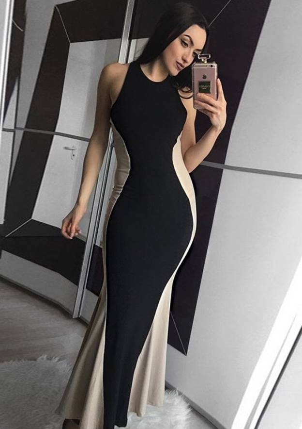 Sheath/Column High-Neck Sleeveless Long/Floor-Length Elastic Satin Prom Dress