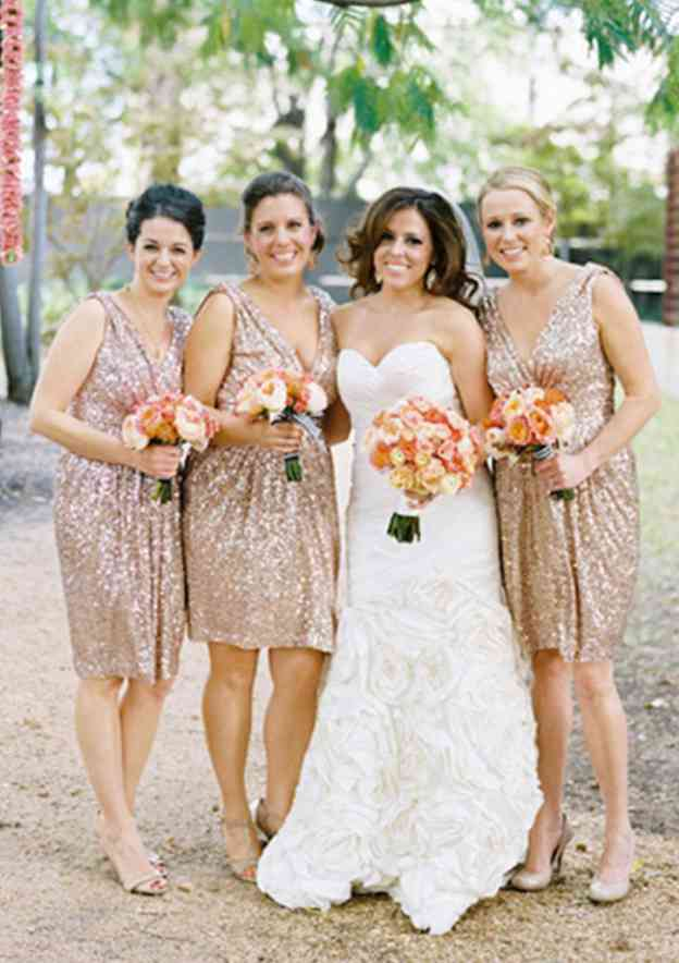 A-Line/Princess V Neck Sleeveless Knee-Length Sequined Bridesmaid Dress