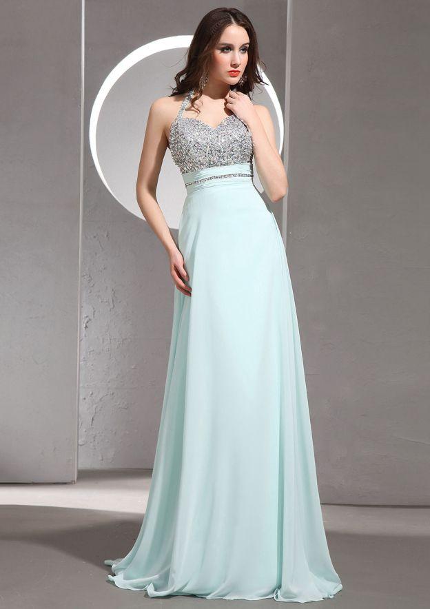 A-Line/Princess Halter Sleeveless Sweep Train Chiffon Prom Dress With Beading